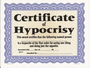 Hypocrisy-certificate