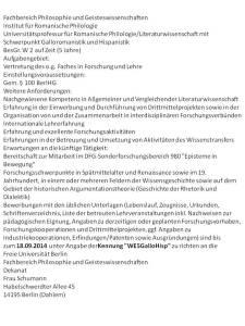 FU BErlin Ausschreibung romanistik