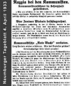 Naumburger Tageblatt 1933
