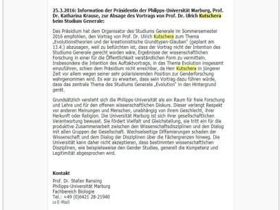 Marbugr Kutschera Absage