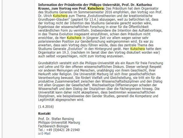 Uni Marburg Satz wahrheit