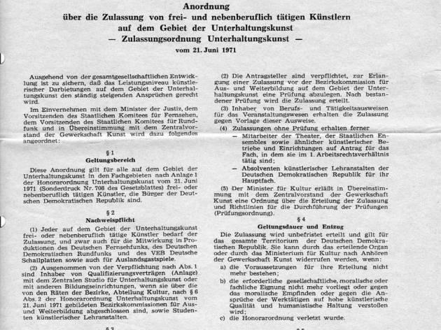 DDR anordnung kunst zulassung